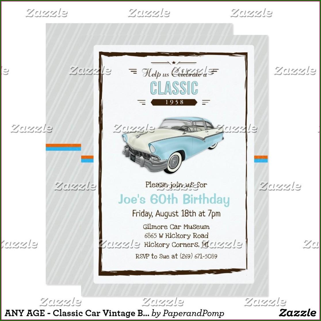 Classic Car Birthday Invitations