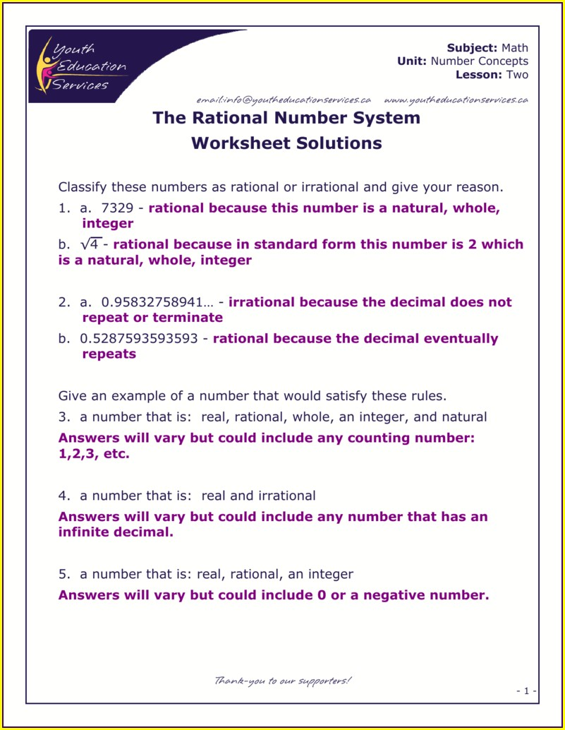 Classifying Rational Numbers Worksheet Pdf