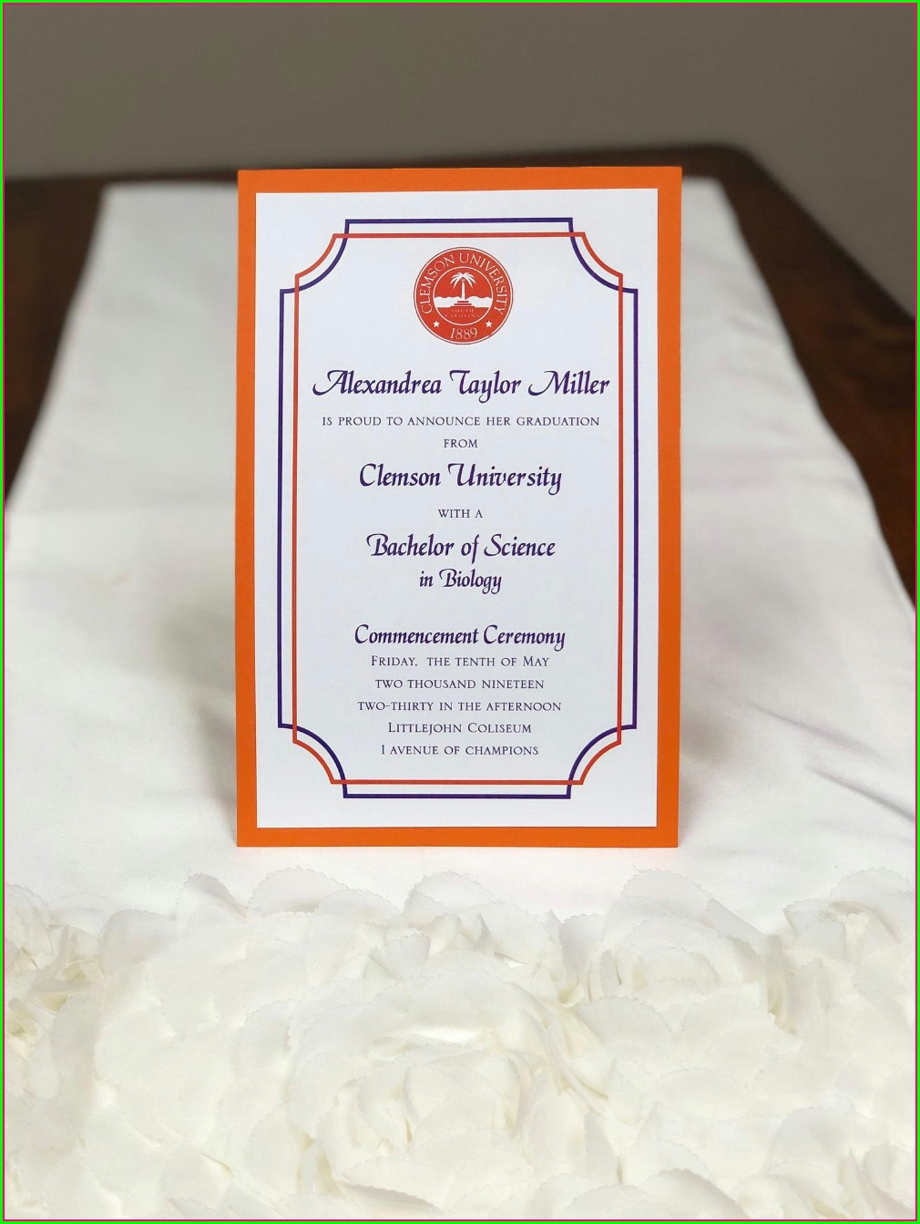 Clemson University Graduation Invitations