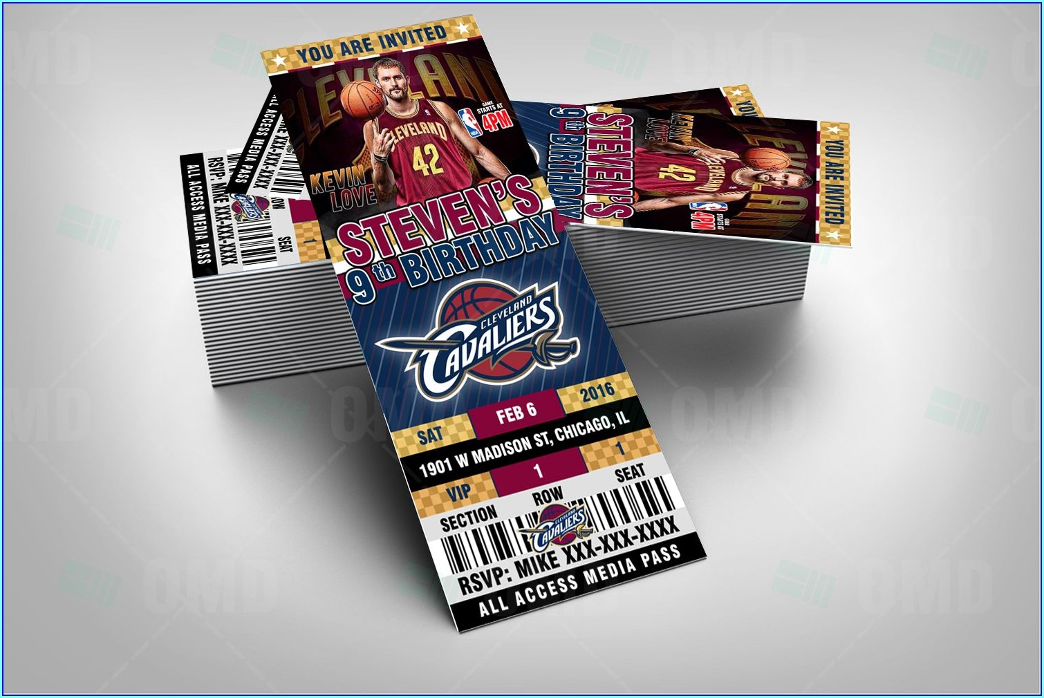 Cleveland Cavaliers Birthday Invitations