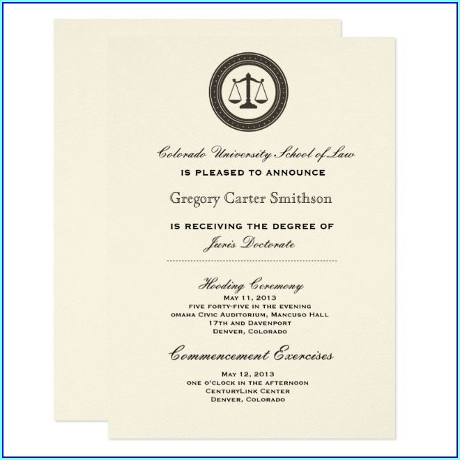 College Commencement College Graduation Invitation Wording