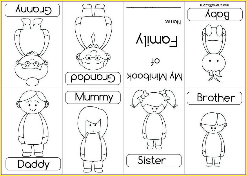 Coloring My Family Worksheet For Kindergarten