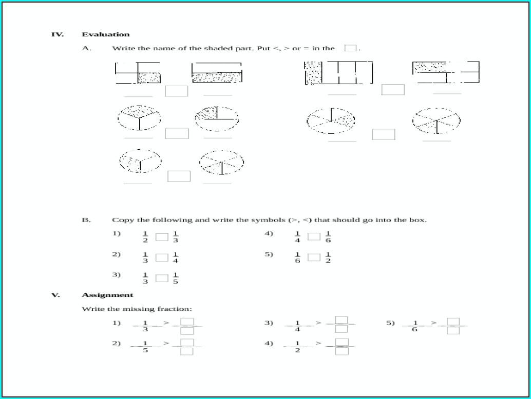 Comparing Fractions Worksheet Grade 2