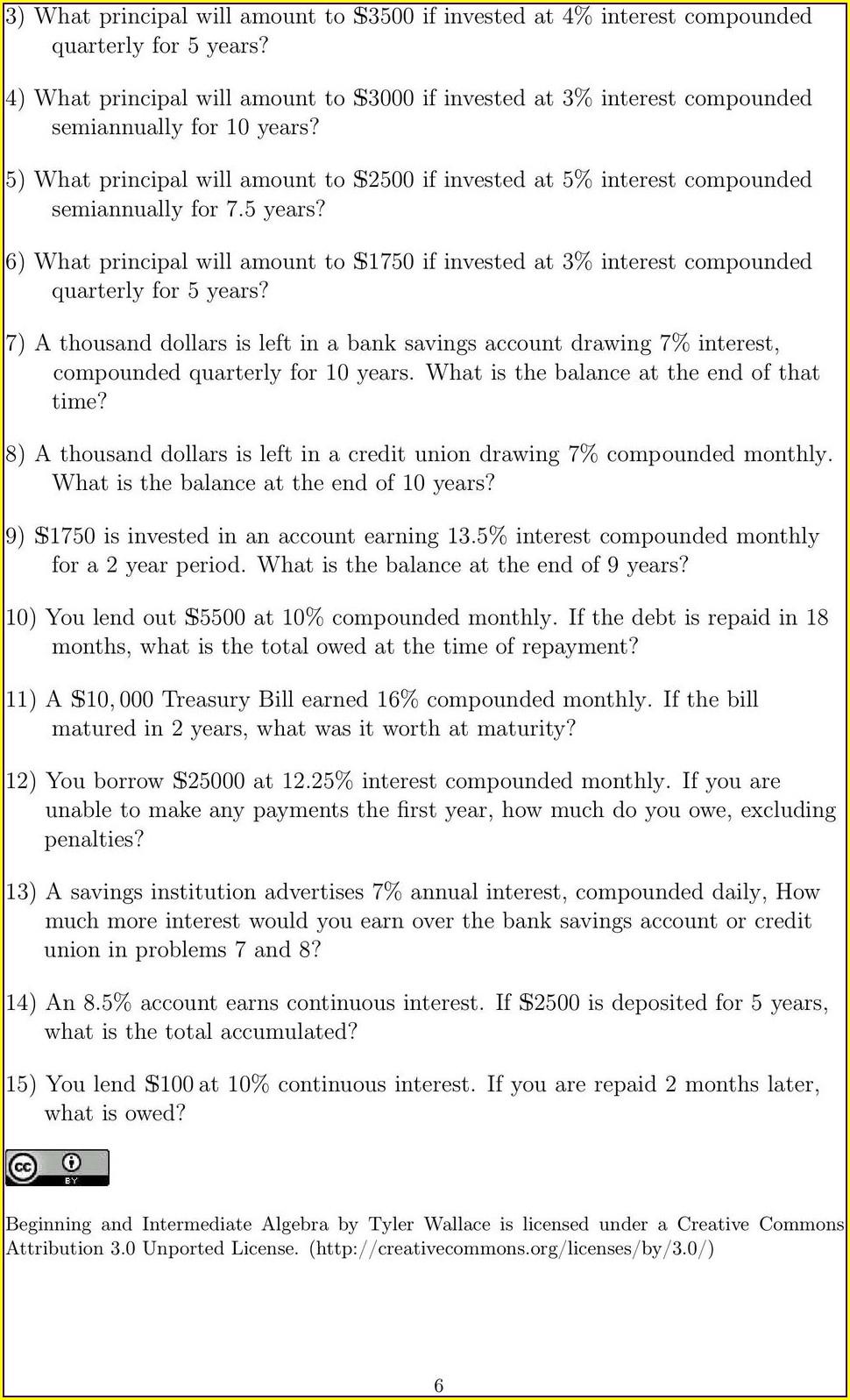 Compound Interest Word Problems Worksheet Pdf