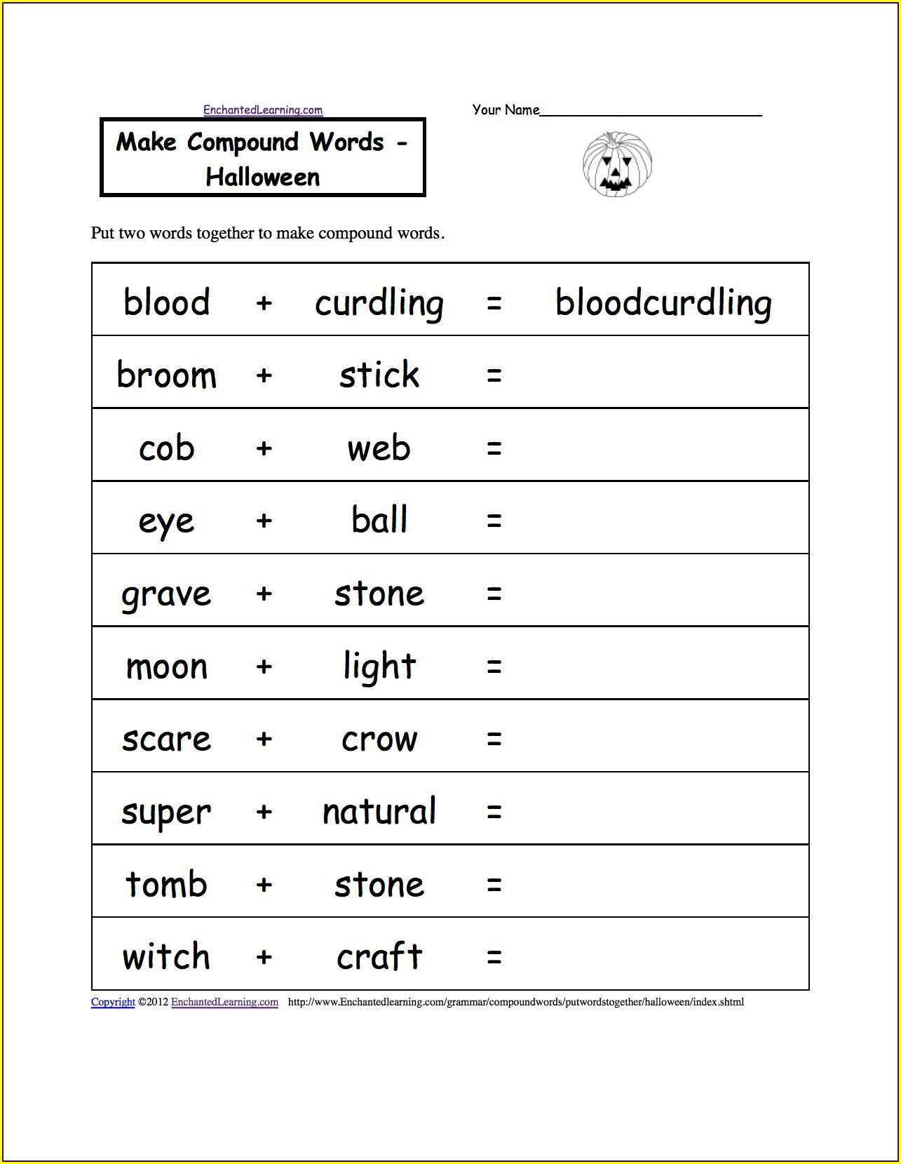 Compound Words Worksheet Pdf For Kindergarten
