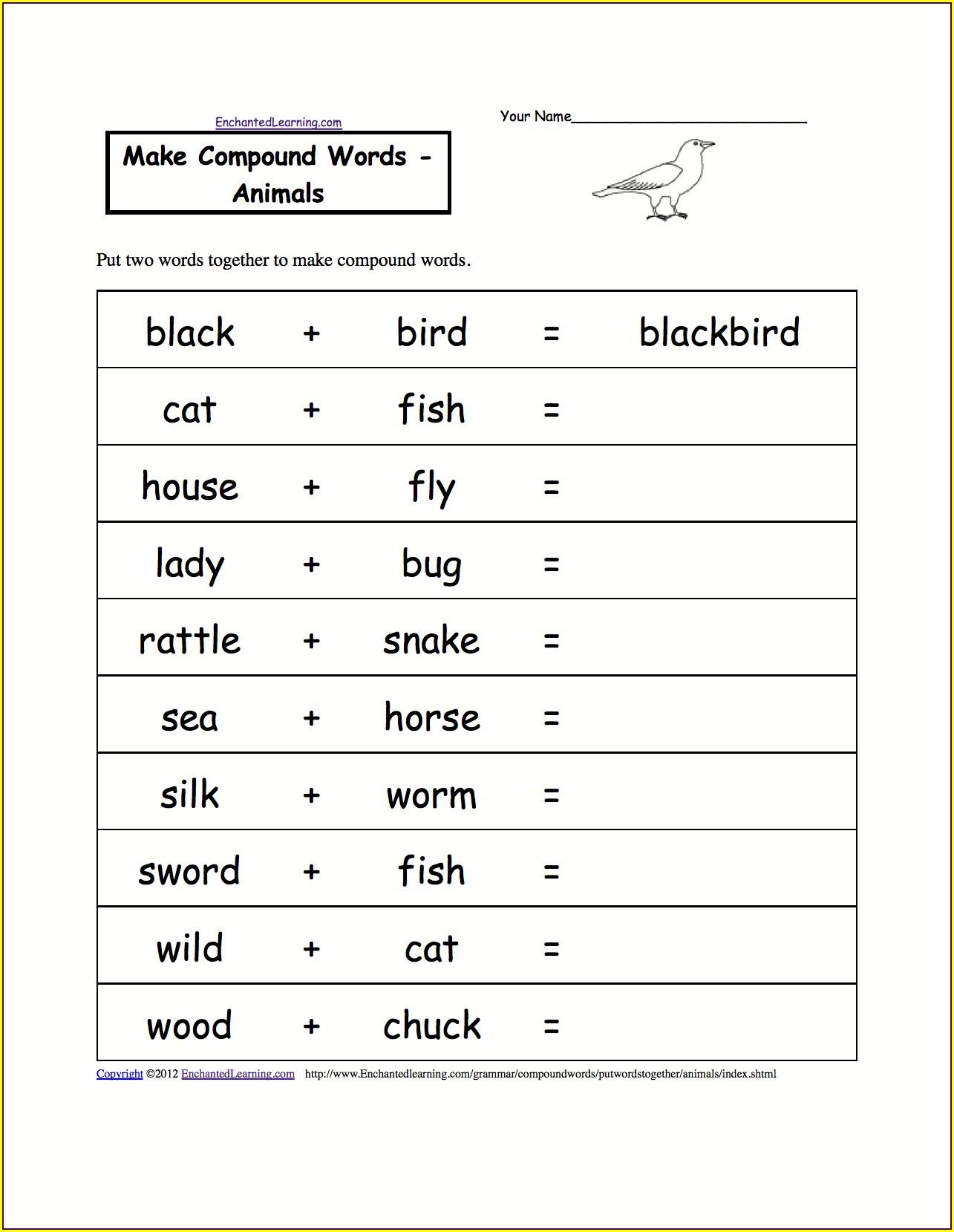 Compound Words Worksheet Pdf