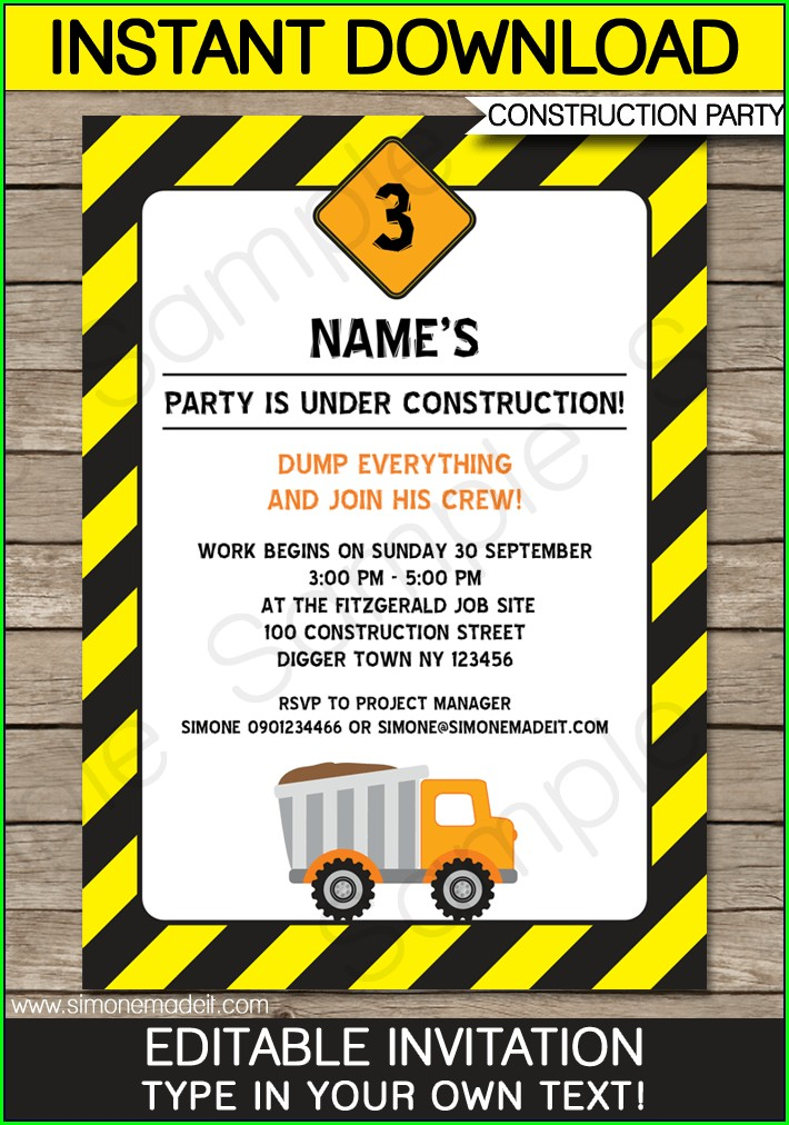 Construction Birthday Invitations With Picture