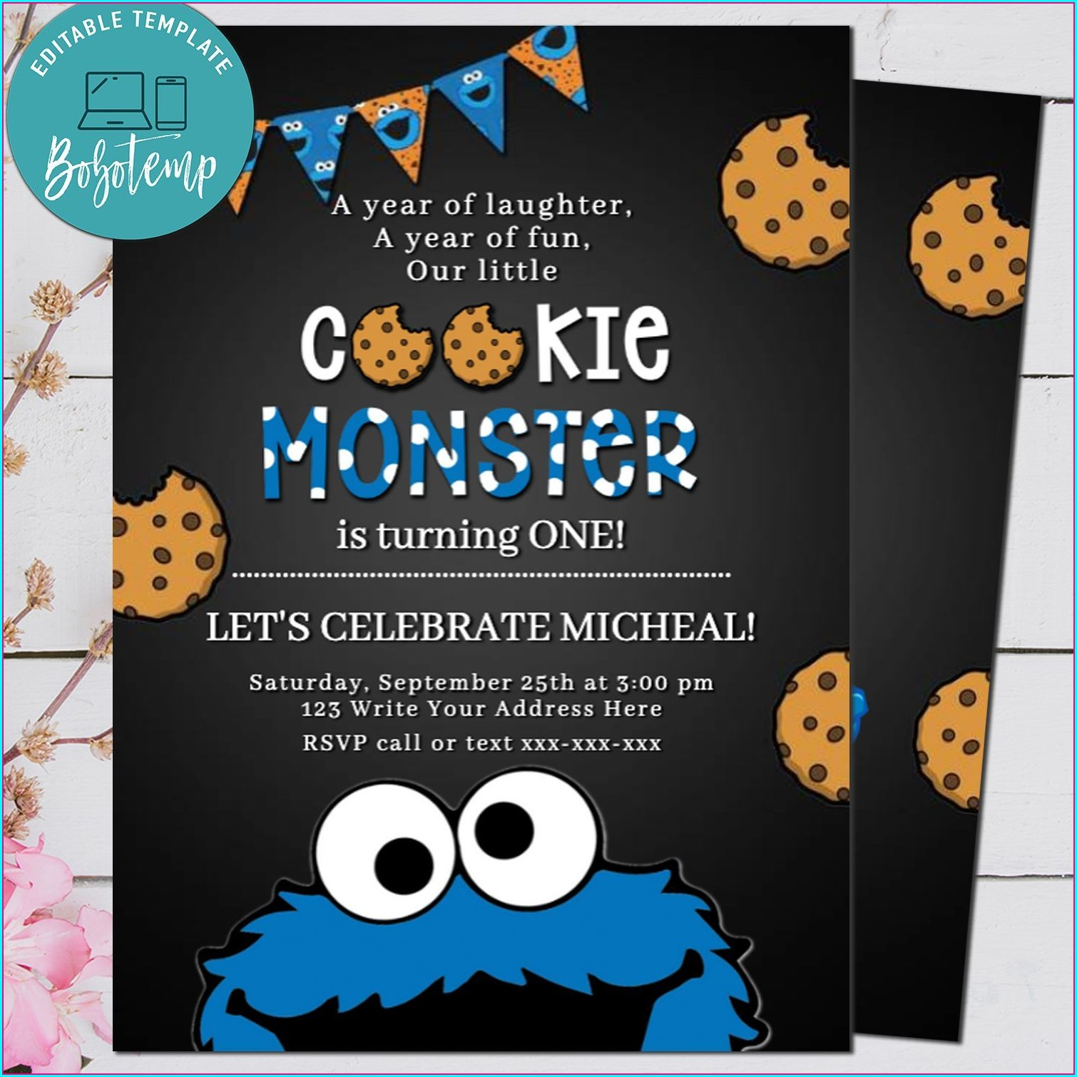 Cookie Monster First Birthday Invitations