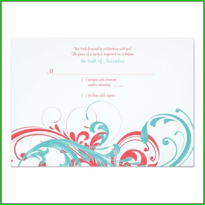 Coral And Aqua Wedding Invitations