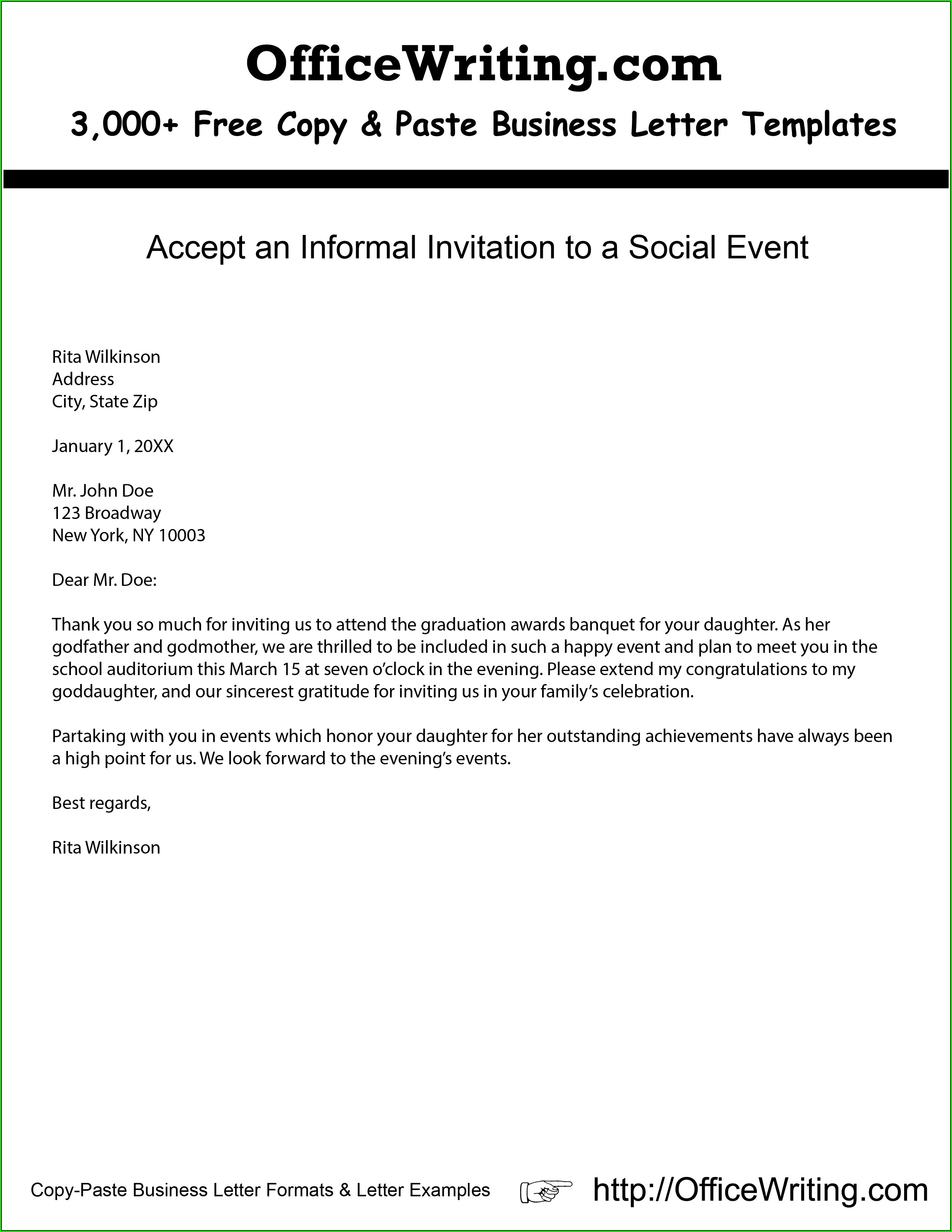 Corporate Event Sample Invitation Letter For Social Event