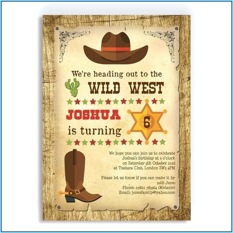 Cowboy Birthday Invitation Template