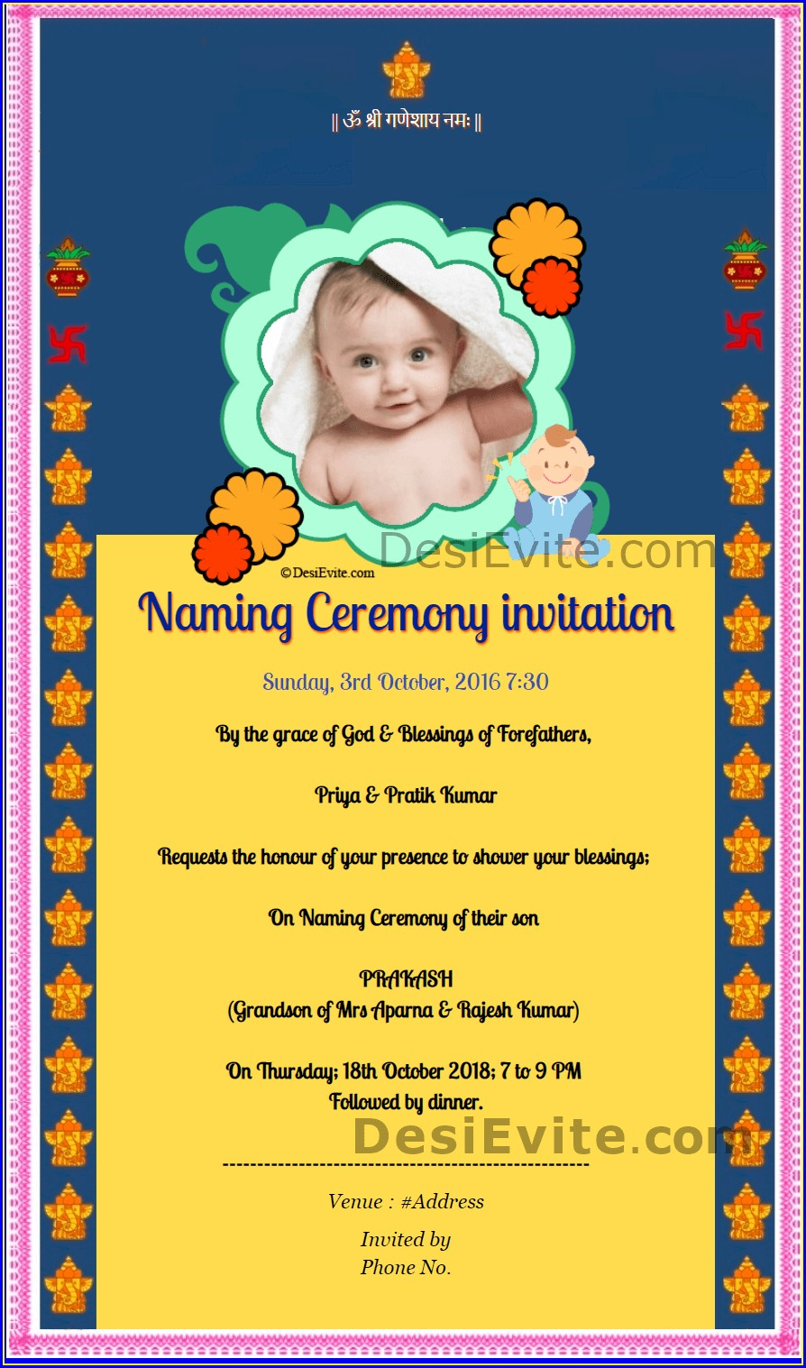 Cradle Ceremony Invitation Templates Free Online