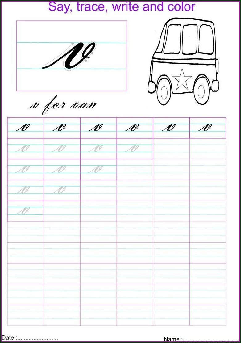 Cursive Letter V Worksheet