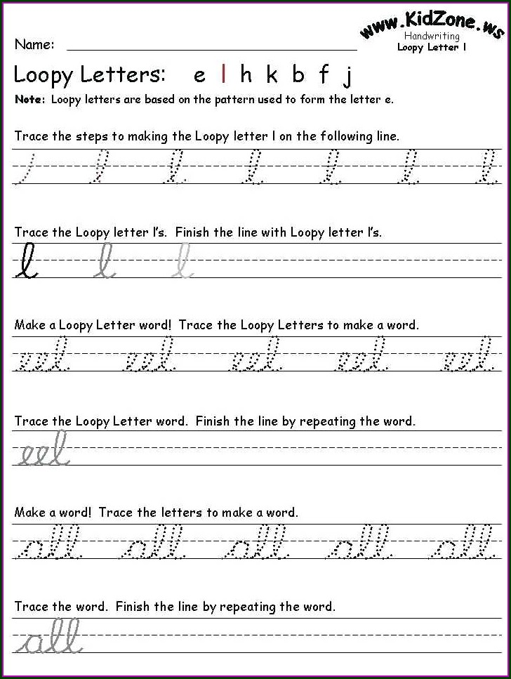 Cursive Writing Worksheets For Kg Pdf