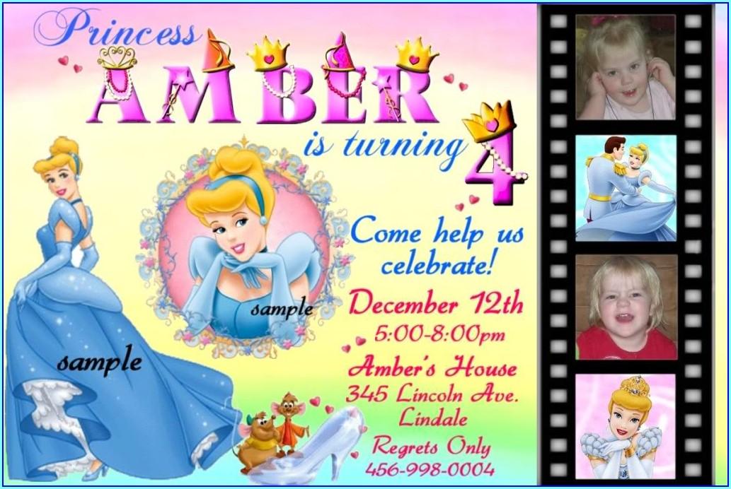 Custom Disney Princess Birthday Invitations