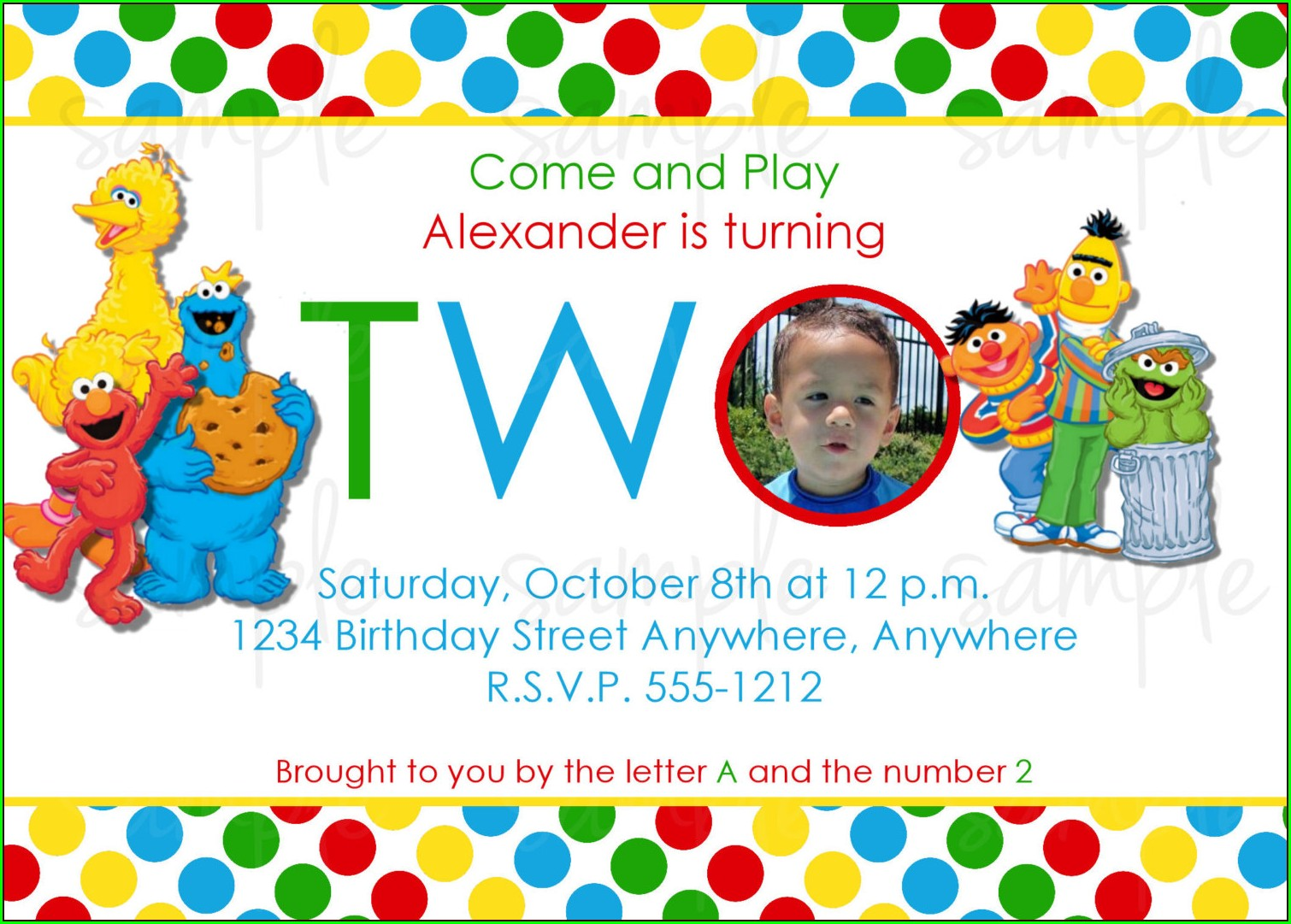 Custom Sesame Street Invitations