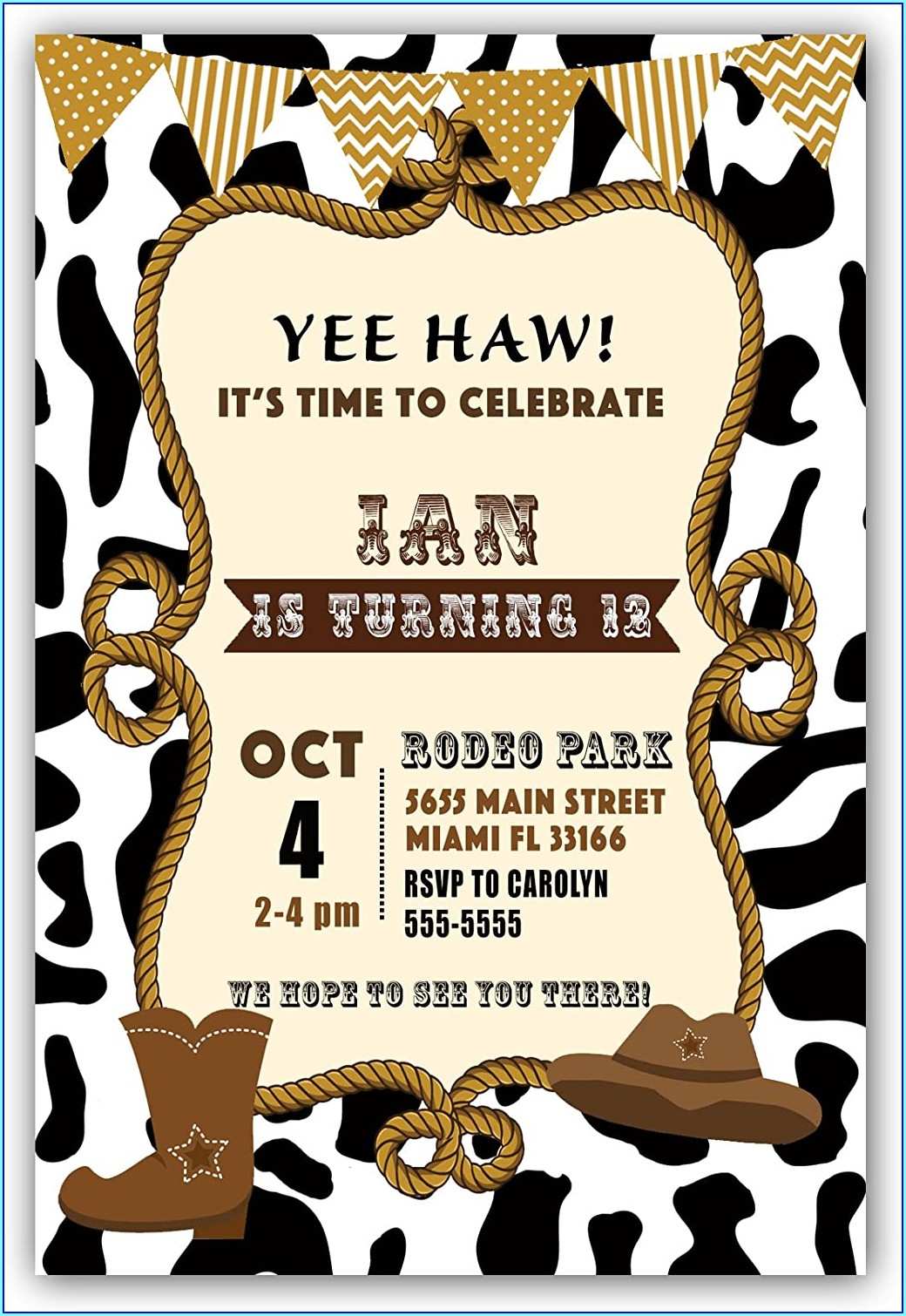 Customizable Blank Cowboy Invitation Template