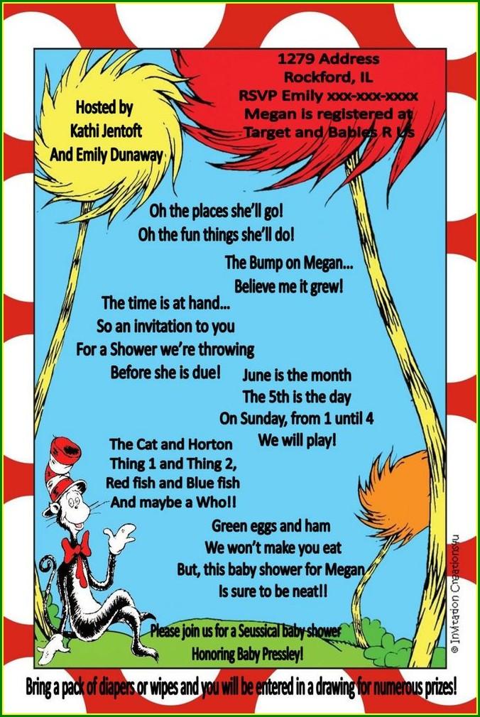 Customizable Dr Seuss Invitations