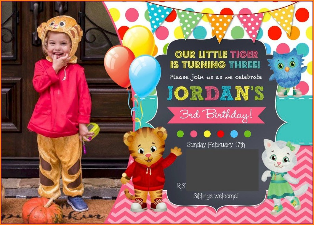Daniel Tiger Birthday Invitations