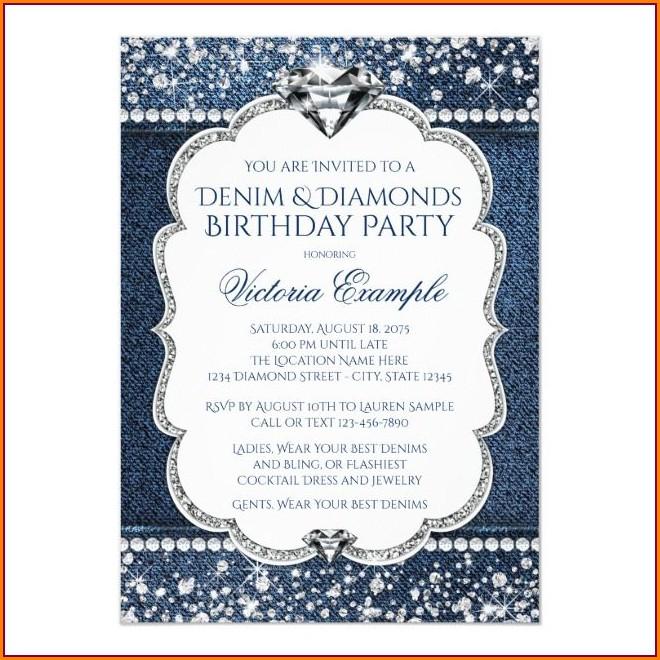 Denim And Diamonds Birthday Invitations
