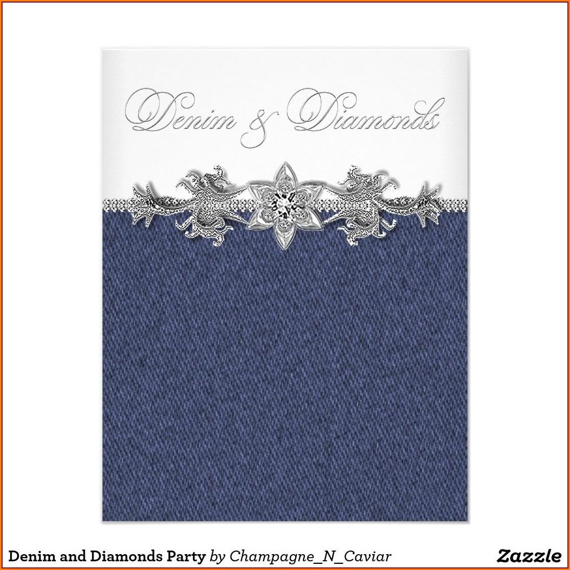 Denim And Diamonds Invitation Cards