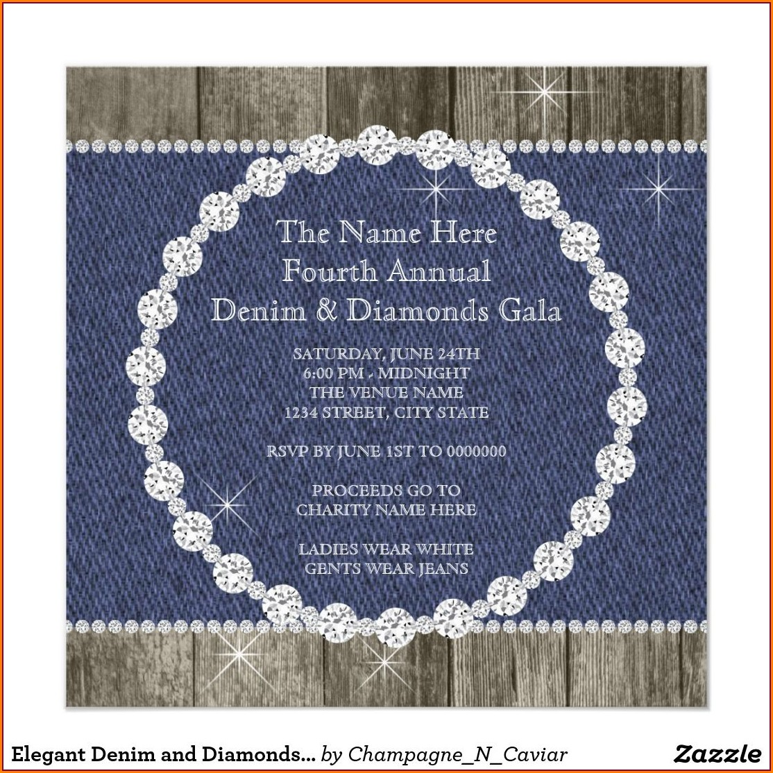 Denim And Diamonds Party Invitations