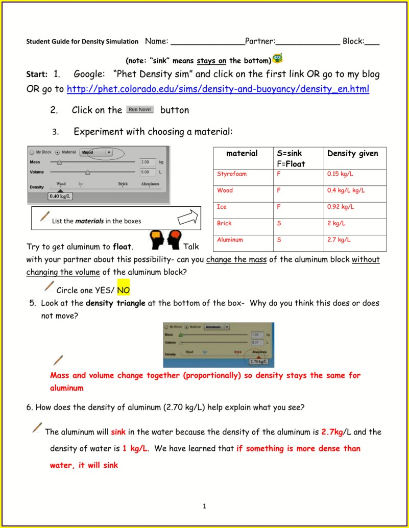 Density And Buoyancy Worksheet Answers