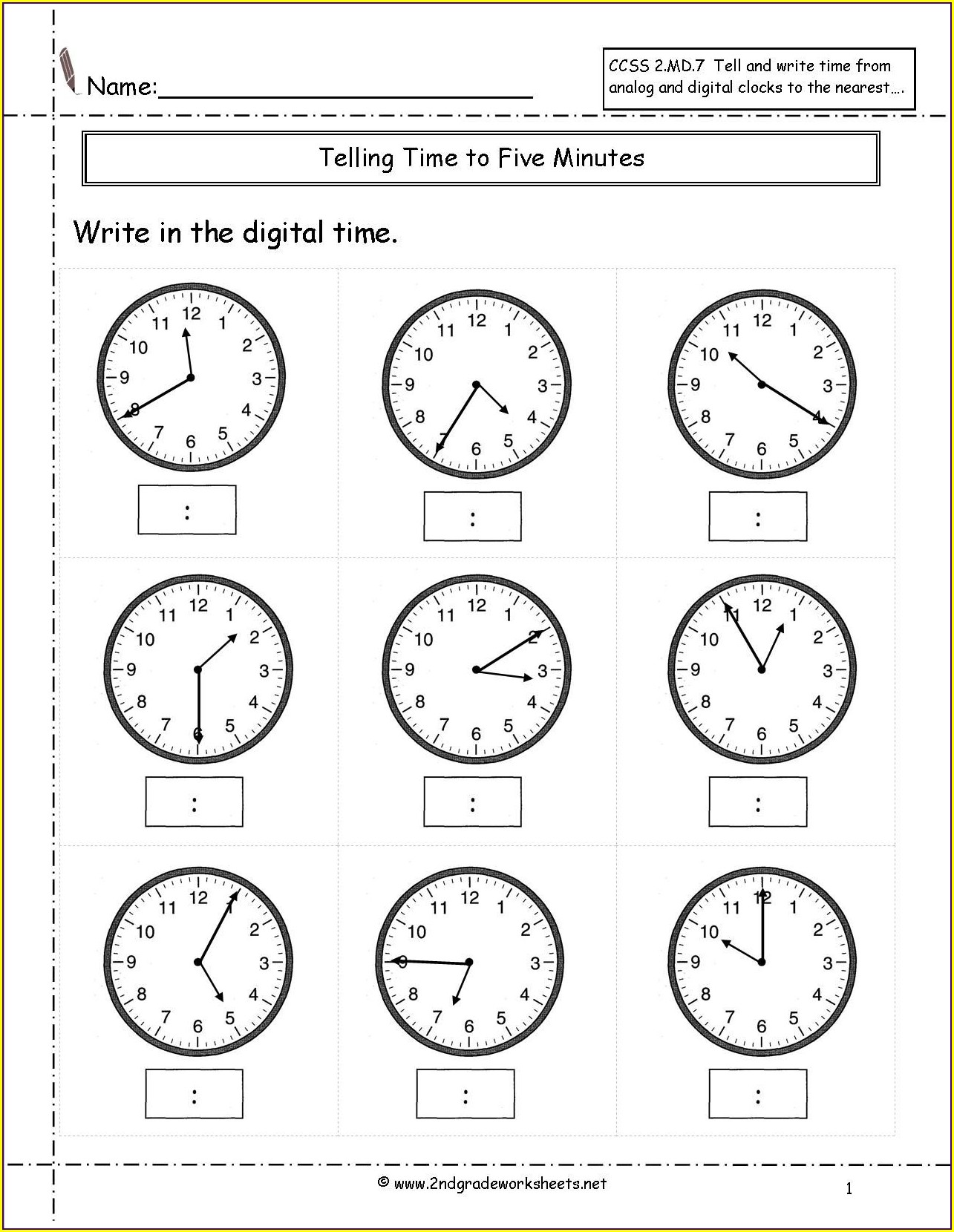 Digital Time 5 Minute Intervals Worksheet