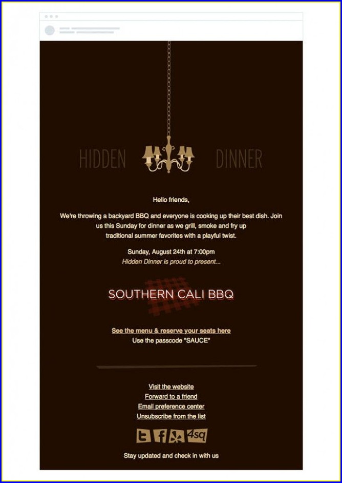 Dinner Invitation Email Example