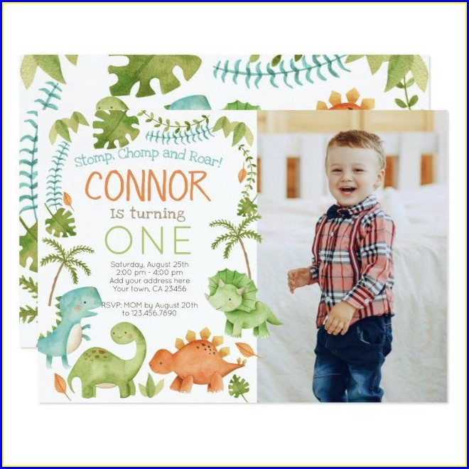 Dinosaur Birthday Invitations With Photo