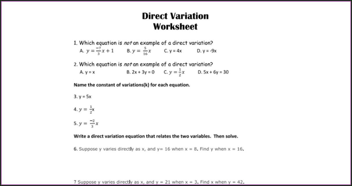 Direct Variation Worksheet Answer Key Algebra 1