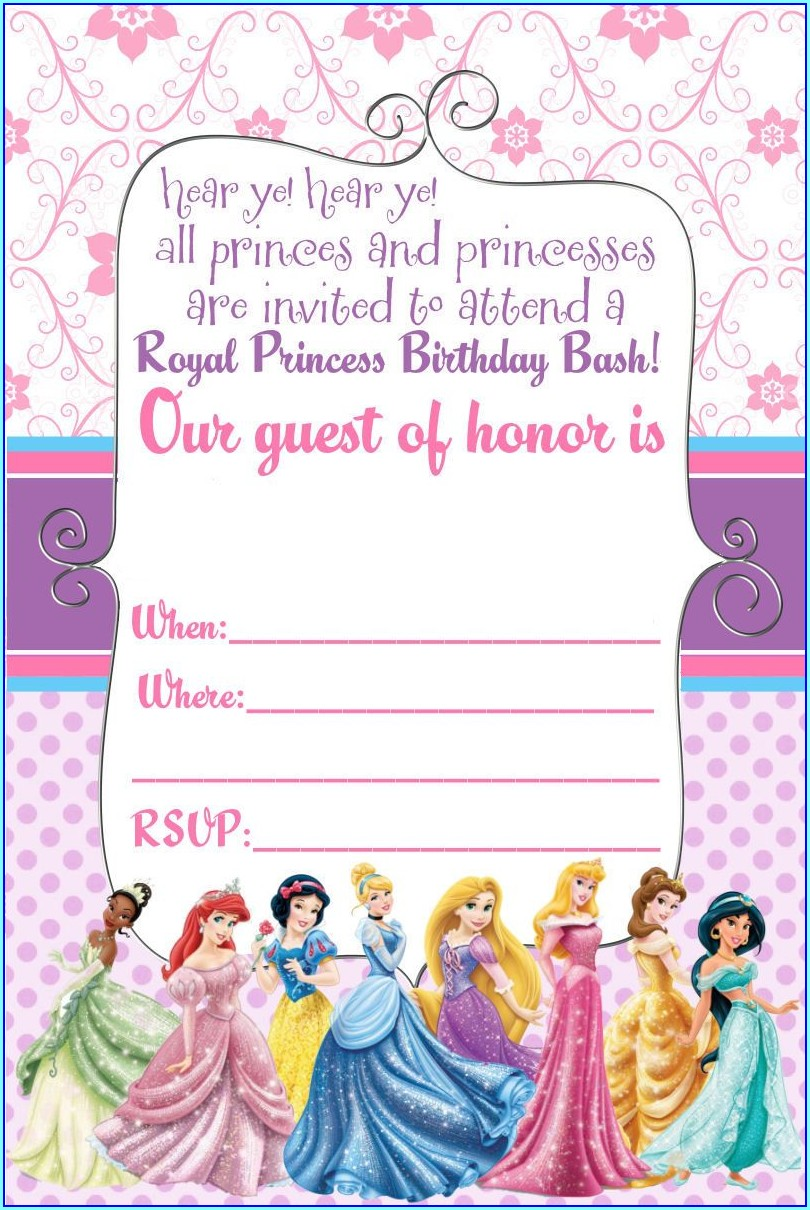 Disney Princess Invitation Card For Birthday Blank
