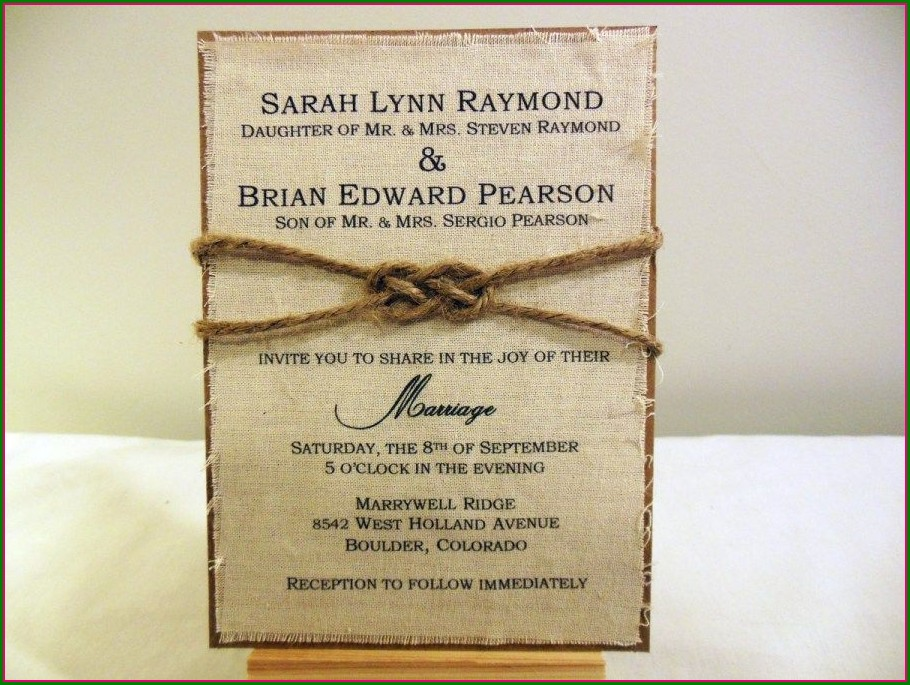 Diy Burlap Wedding Invitation Kits
