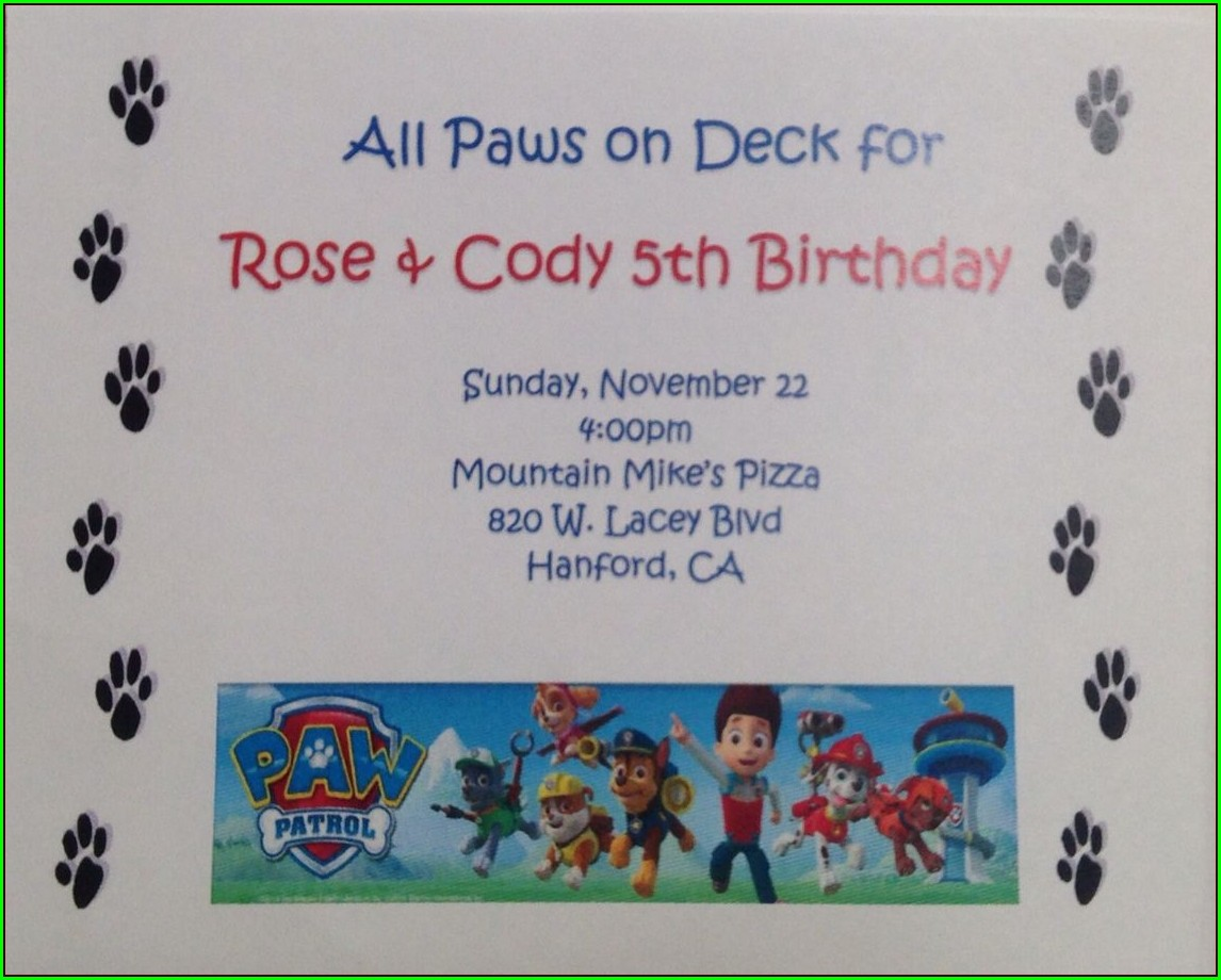 Diy Paw Patrol Invitations