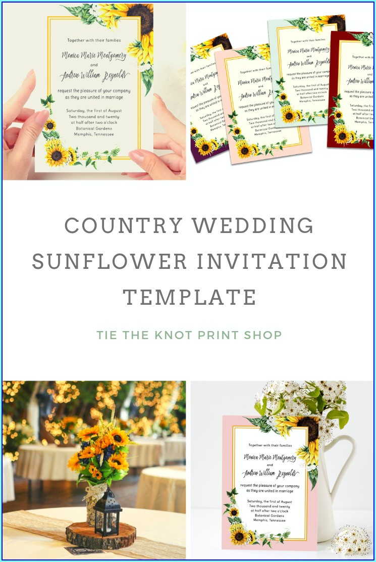 Diy Sunflower Wedding Invitations