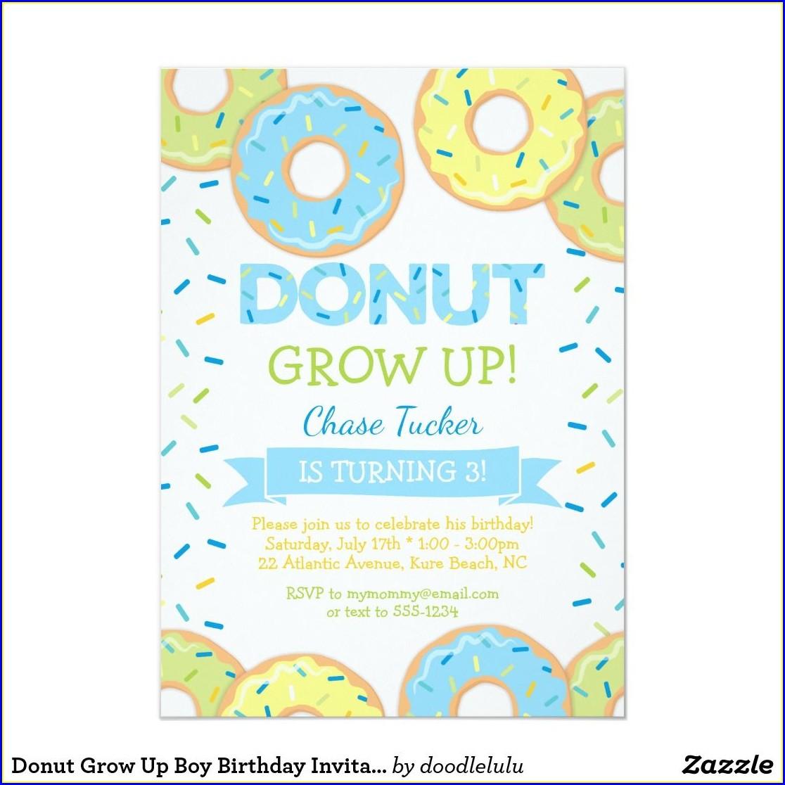 Donut Grow Up Invitations Boy