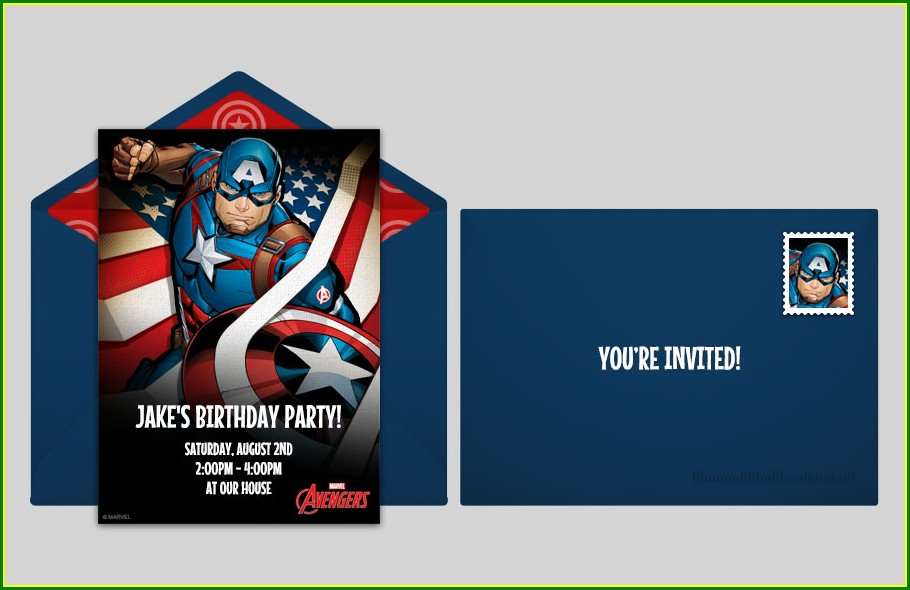 Downloadable Avengers Birthday Invitation Card