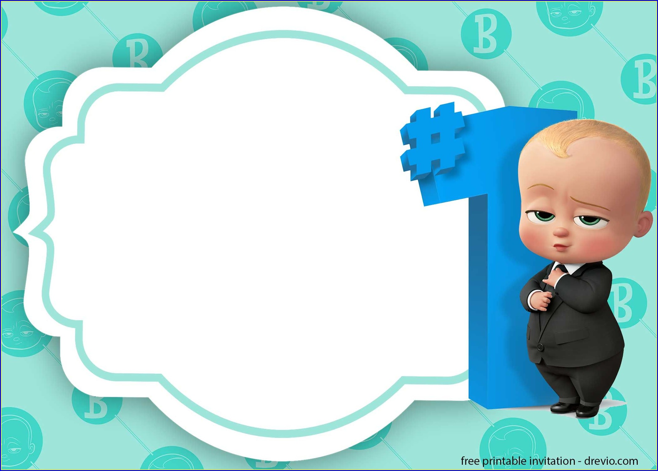 Downloadable Editable Boss Baby Invitation Card Template Free