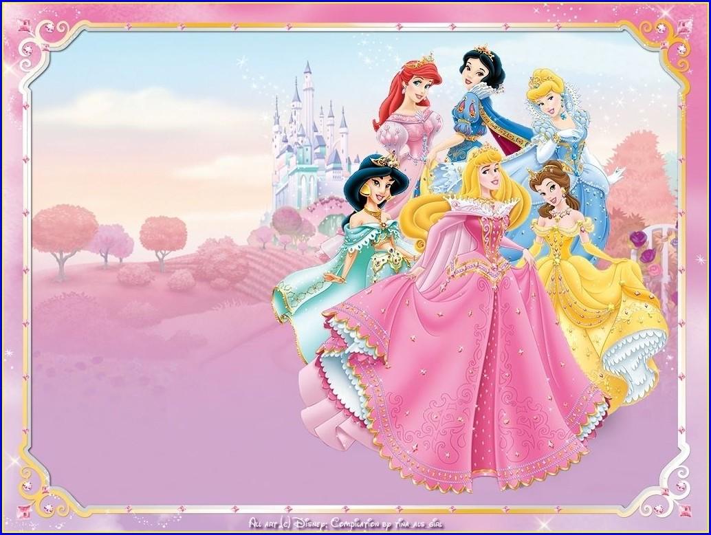 Downloadable Editable Disney Princess Invitation Template