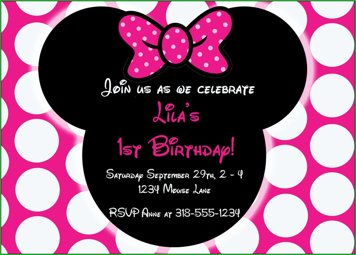 Downloadable Editable Minnie Mouse Birthday Invitation Template