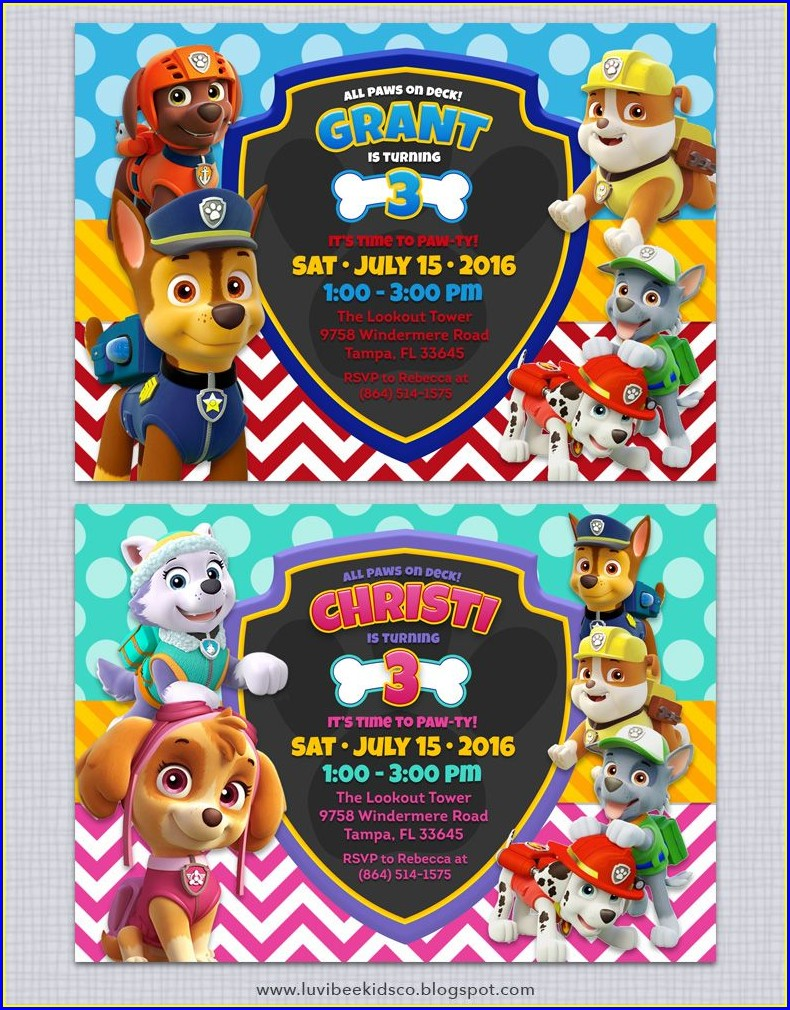 Downloadable Editable Paw Patrol Birthday Invitation Template Free