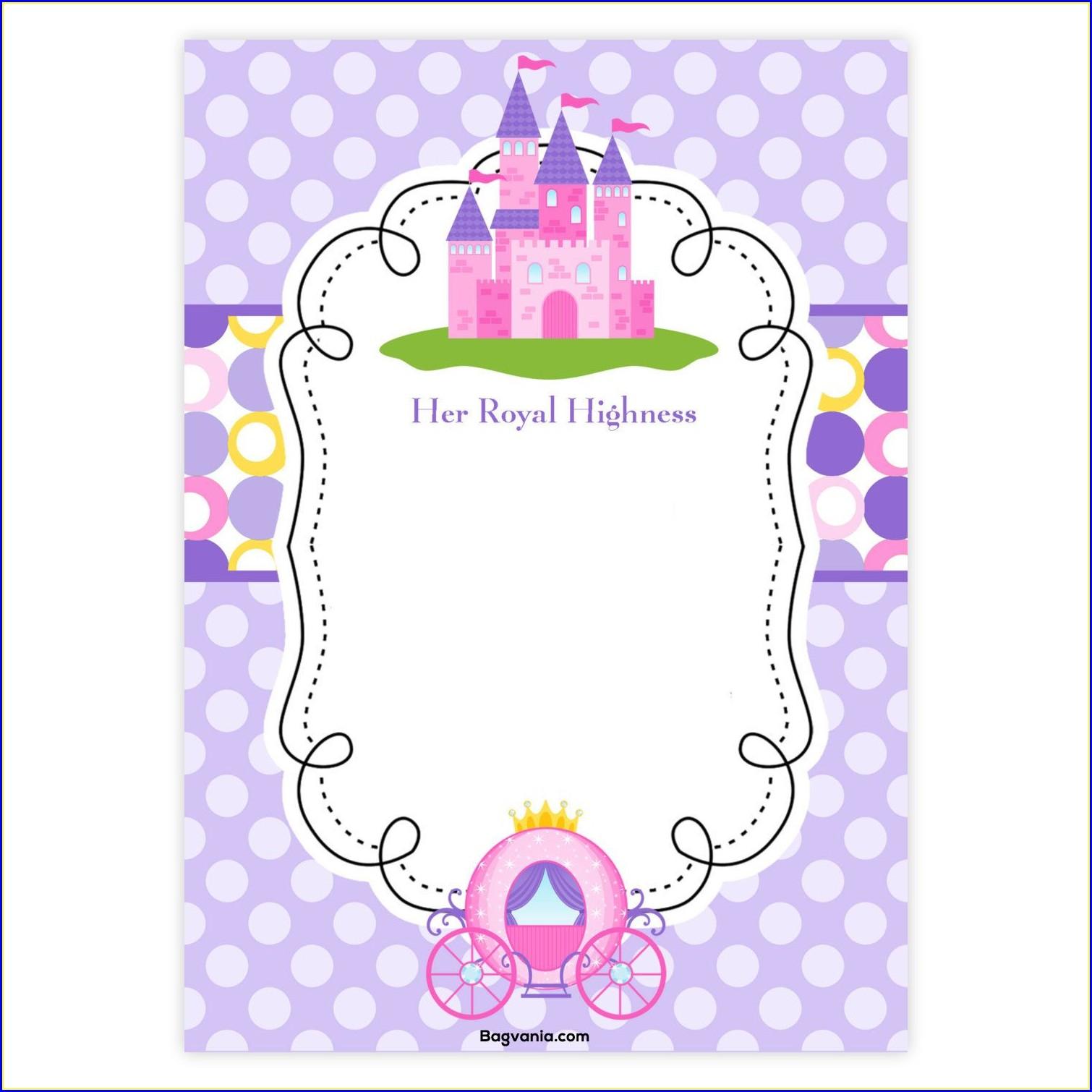 Downloadable Editable Princess Birthday Invitations