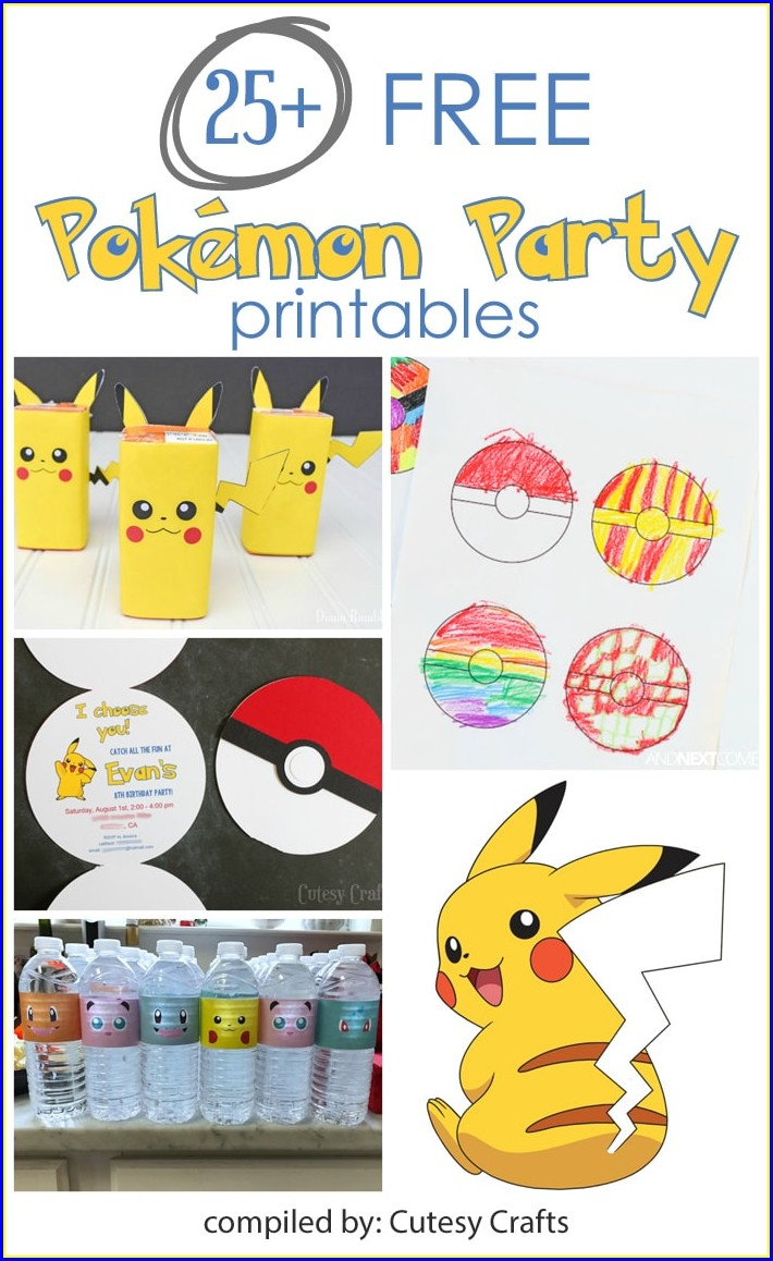 Downloadable Free Editable Pokemon Birthday Invitations