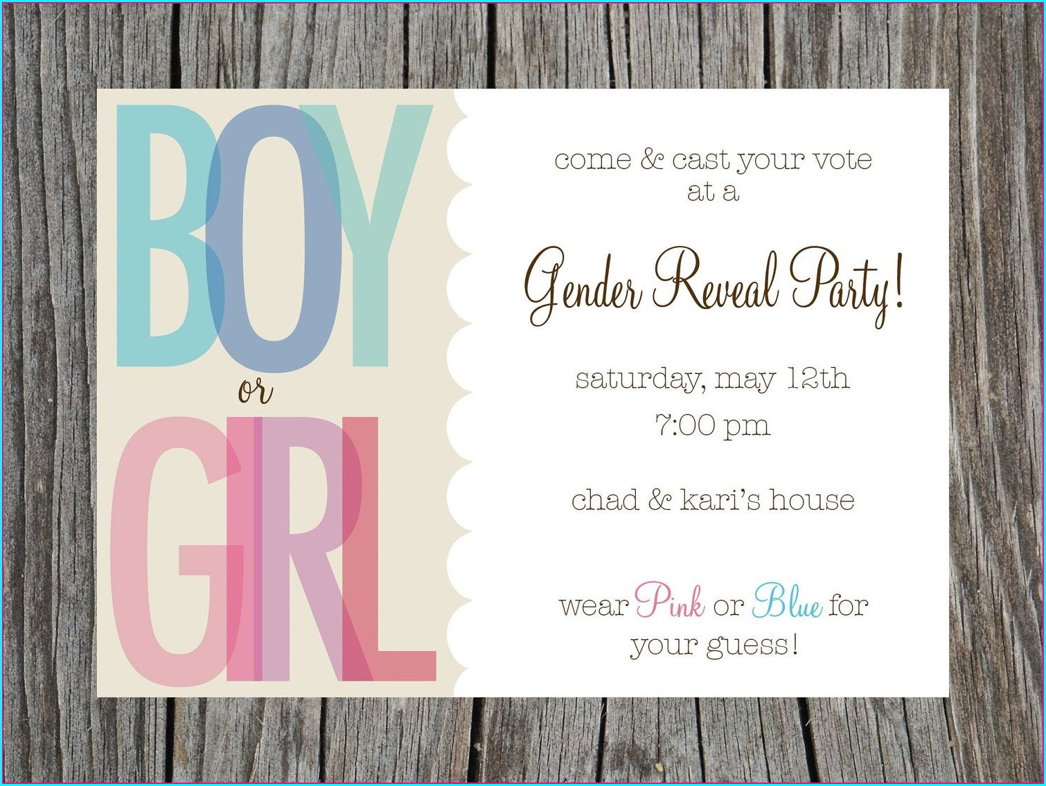 Downloadable Free Printable Gender Reveal Invitations