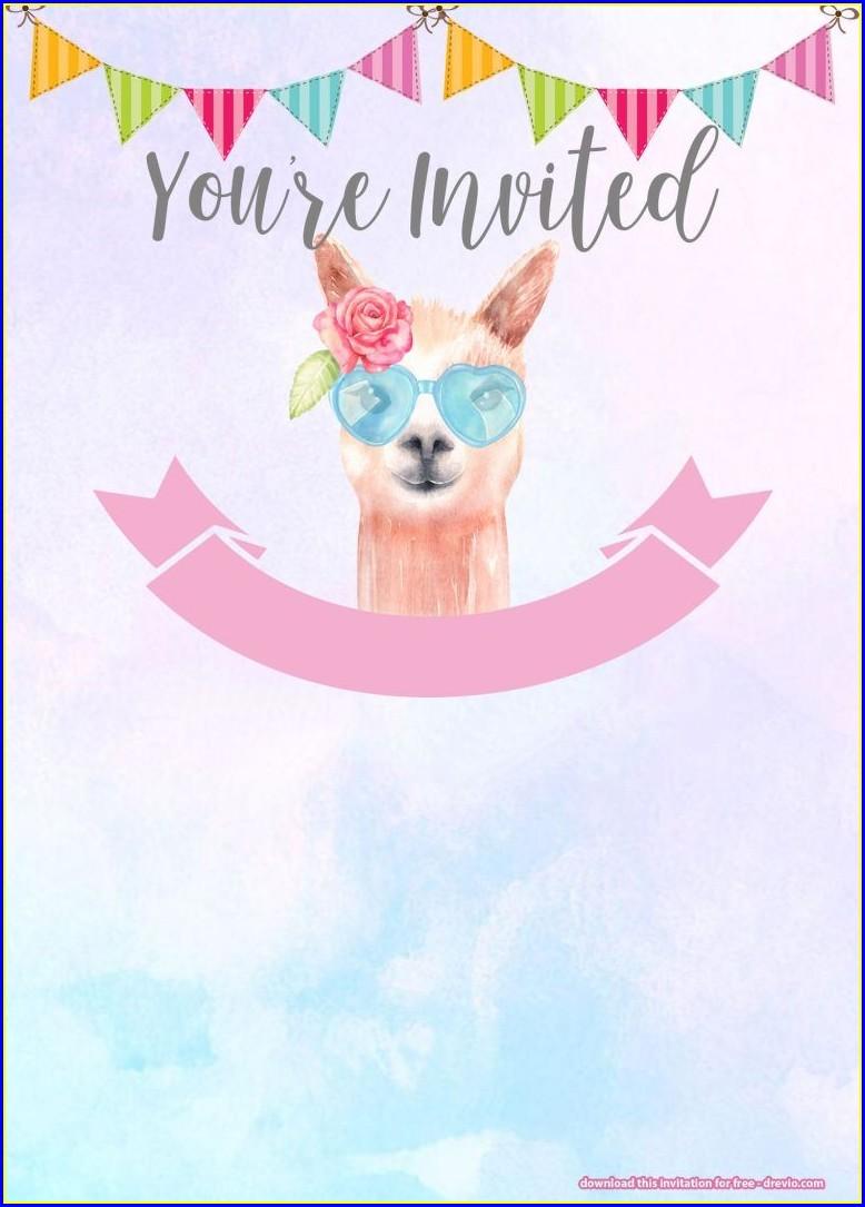 Downloadable Free Printable Llama Birthday Invitations