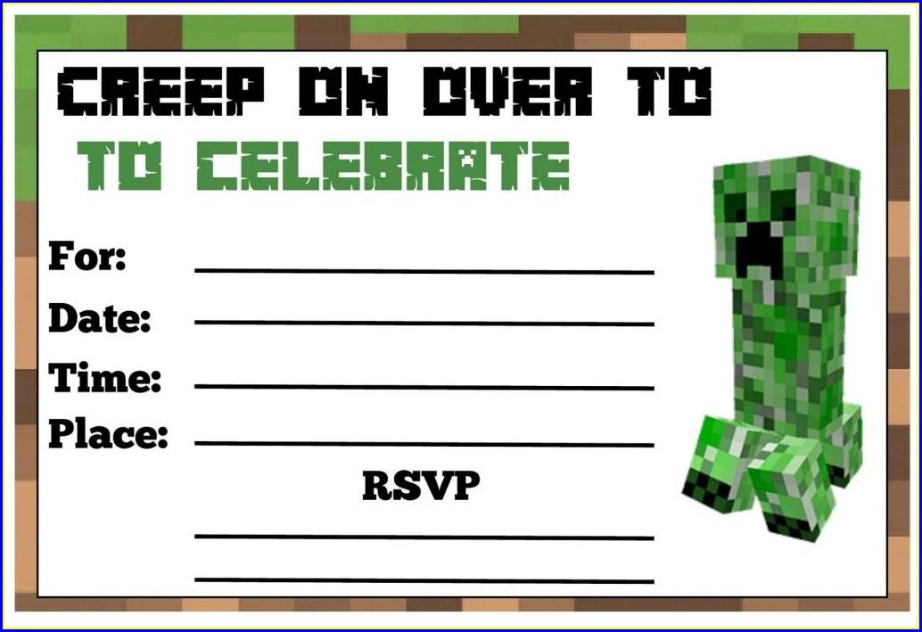 Downloadable Free Printable Minecraft Birthday Invitations
