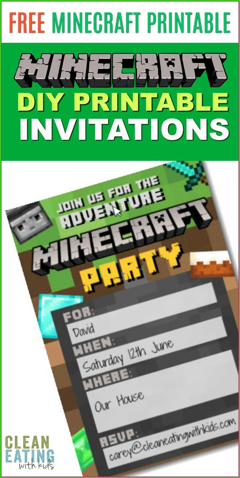 Downloadable Free Printable Minecraft Invitations