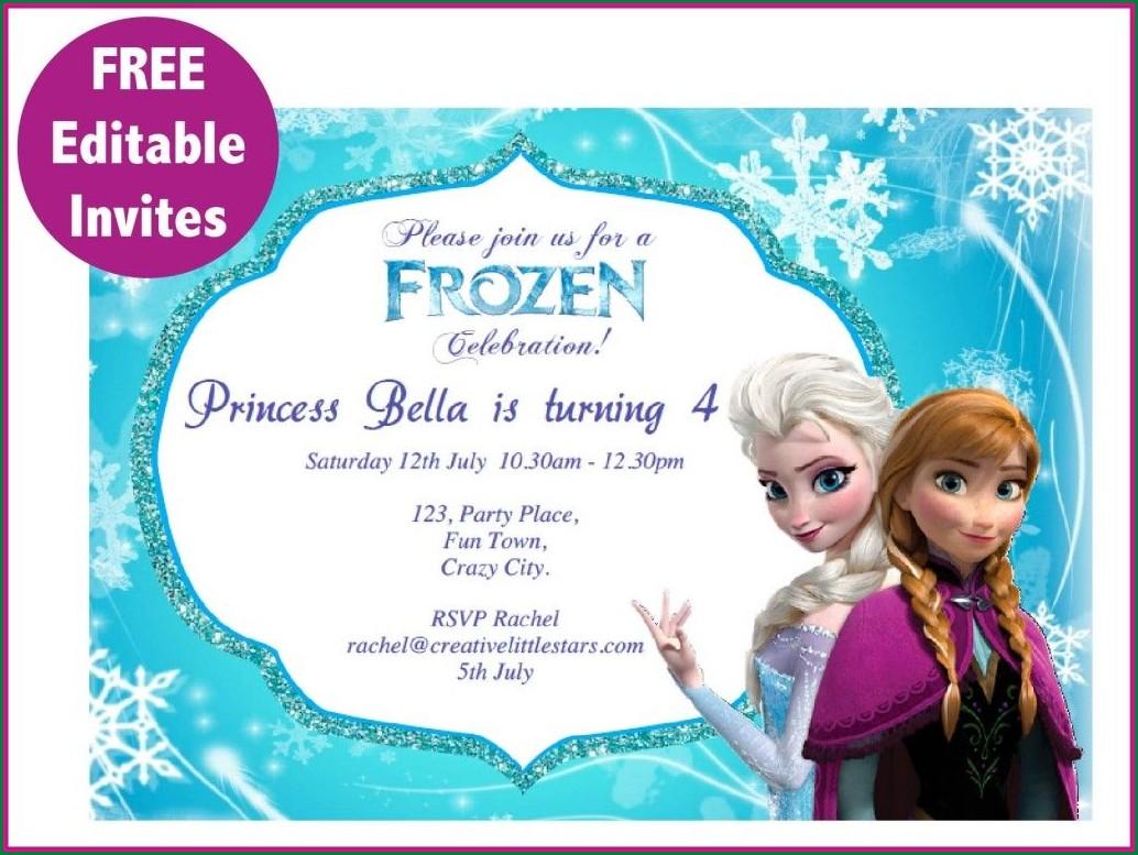 Downloadable Frozen Invitation Card Template
