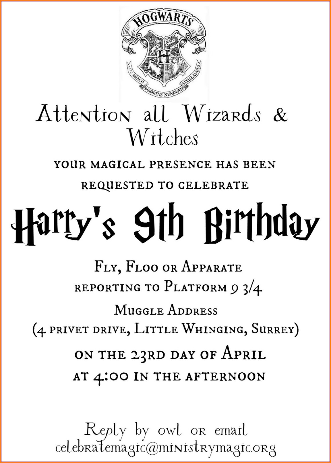 Downloadable Harry Potter Birthday Invitation Template