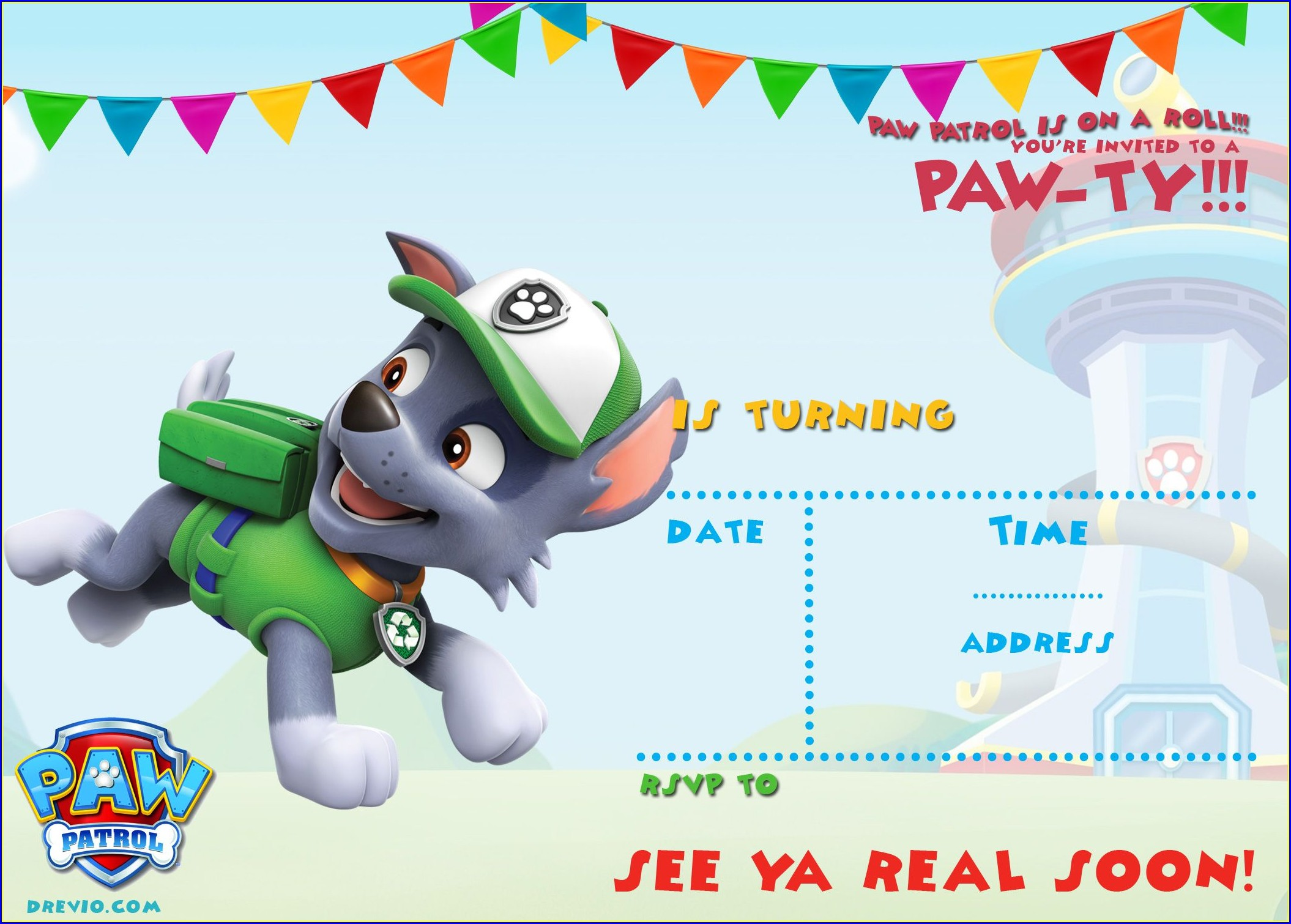 Downloadable Paw Patrol Birthday Invitation Template Free